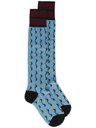 Marni Dot Printed Socks Blue