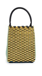 Truss Small Top Handle Bag Yellow Turquoise