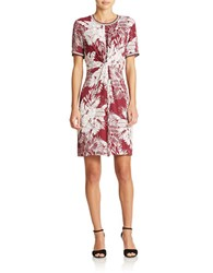 424 Fifth Floral Sheath Dress Aubergine Combo