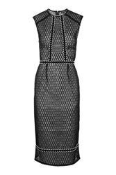 Topshop Fishnet Braid Trim Midi Dress Black