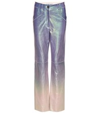 Loewe Metallic Ombre Leather Trousers Purple