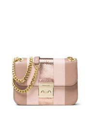Michael Michael Kors Sloan Editor Medium Striped Leather And Metallic Snakeskin Chain Shoulder Bag Fawn Ballet