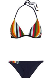 Tory Burch Striped Triangle Bikini Navy