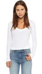 James Perse Long Sleeve V Neck Tee White