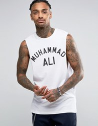 Asos Muhammed Ali Sleeveless T Shirt With Dropped Armhole In White White Black