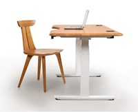 Copeland Furniture Invigo Rounded Standing Desk With Cutout Natural Cherry White 26 In X 48 In