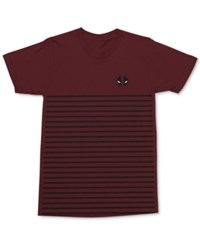 Mighty Fine Men's Deadpool Stripe Graphic Print Cotton T Shirt Maroon