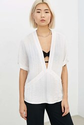 Silence And Noise Silence Noise Carson Plunge Front Tee Cream