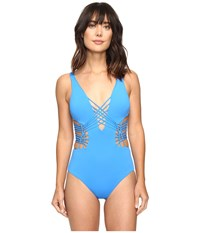 Becca Electric Current One Piece Water Women's Swimsuits One Piece Blue
