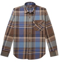 Beams Plus Checked Cotton Flannel Shirt Blue