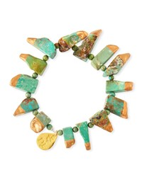 Devon Leigh Copper Infused Turquoise Stretch Bracelet Gold