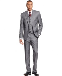 Sean John Big And Tall Medium Grey Sharkskin Vested Classic Fit Suit
