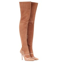 Malone Souliers Madison Over The Knee Suede Boots Beige