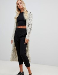 Qed London Open Knit Maxi Cardigan Beige