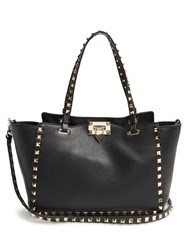 Valentino Rockstud Small Grained Leather Tote Black