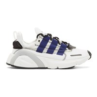 Adidas Originals White And Blue Lx Con Sneakers