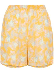 A Peace Treaty Yuna Print Crepe Shorts Yellow And Orange
