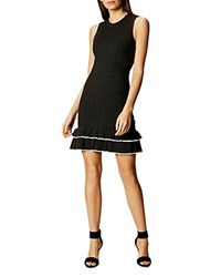 Karen Millen Ruffled Hem Knit Dress Black White