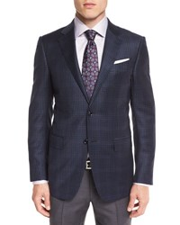 Ermenegildo Zegna Overplaid Two Button Sport Coat Blue