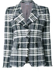 Thom Browne Frayed Edge Plaid Blazer Black