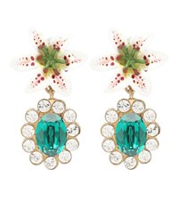 Dolce And Gabbana Embellished Floral Clip On Earrings Green