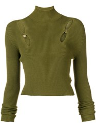 Versus Cut Out Ribbed Turtleneck Sweater Green
