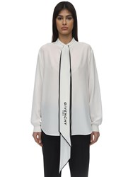 Givenchy Scarf Collar Crepe De Chine Shirt White