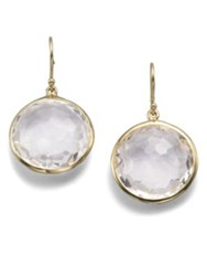 Ippolita Lollipop Clear Quartz And 18K Yellow Gold Large Drop Earrings