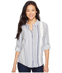 Dylan By True Grit Coast Stripes One Pocket Roll Sleeve Shirt Blue Women's Long Sleeve Button Up