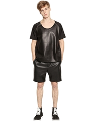Perdre Haleine Faux Leather And Nylon Crepe T Shirt Black