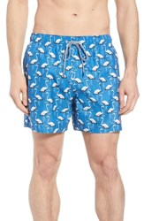 Ted Baker London Rasbor Trim Fit Flamingo Swim Trunks Bright Blue