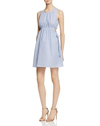 Aqua Striped Poplin Cutout Dress 100 Exclusive Blue White