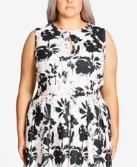 City Chic Plus Size Printed Crop Top Musk
