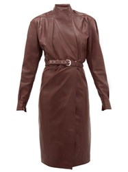 Dodo Bar Or Tony Belted Leather Wrap Dress Burgundy