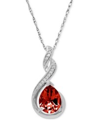 Macy's Rhodolite Garnet 2 Ct. T.W. And Diamond Accent Swirl Pendant Necklace In Sterling Silver