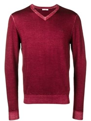 Sun 68 Slim Fit Logo V Neck Sweater Red