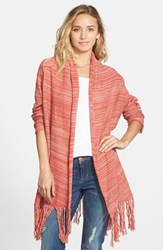 Junior Women's Sun And Shadow Marled Blanket Cardigan Red Mineral Milly Marl