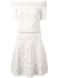 D.Exterior Wide Neck Ribbed Detail Dress White