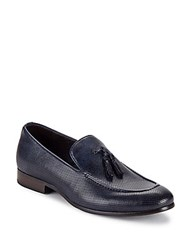 Saks Fifth Avenue Lawson Perforated Tassel Loafers Navy