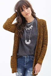Forever 21 Two Tone Knit Cardigan Mustard Black