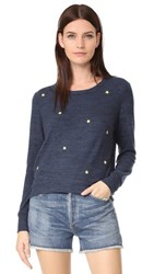 Sundry Star Patches Cropped Sweatshirt Navy