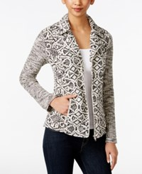 Styleandco. Style And Co. Zip Up Printed Jacket Only At Macy's Neutral Aztec