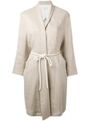 Closed Roped Belted Coat Women Cotton Linen Flax Spandex Elastane S Nude Neutrals