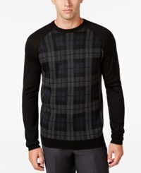 Ryan Seacrest Distinction Men's Plaid Front Sweater Only At Macy's Jet Black