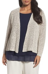 Eileen Fisher Plus Size Women's Organic Linen And Cotton Cardigan Pebble