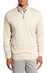 Peter Millar Men's Crown Quarter Zip Sweater Light Sand