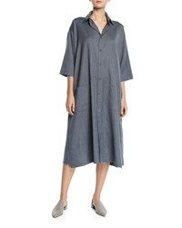 Eskandar 3 4 Sleeve Wool Cashmere Shirtdress Light Blue