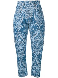 Junya Watanabe Cropped Patterned Jeans Blue