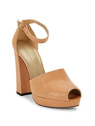 Stuart Weitzman Valley Girl Peep Toe Platform Pumps Tan