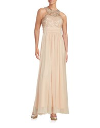 Vince Camuto Embellished Illusion Gown Champagne
